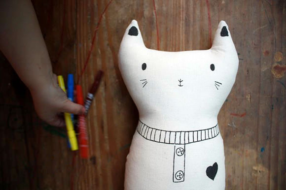 Color-In Cat Plush Toy for Kids  by Marina Maminas