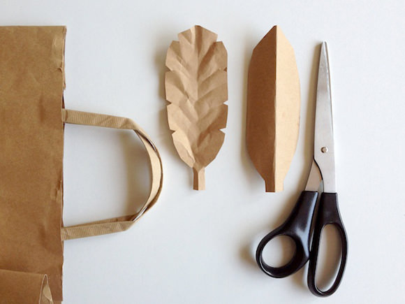 DIY Brown Paper Bag Leaves (simple craft project for kids)