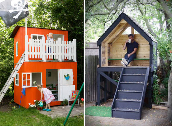 Woodwork easy wooden playhouse for kids pdf plans for Playhouse with porch plans