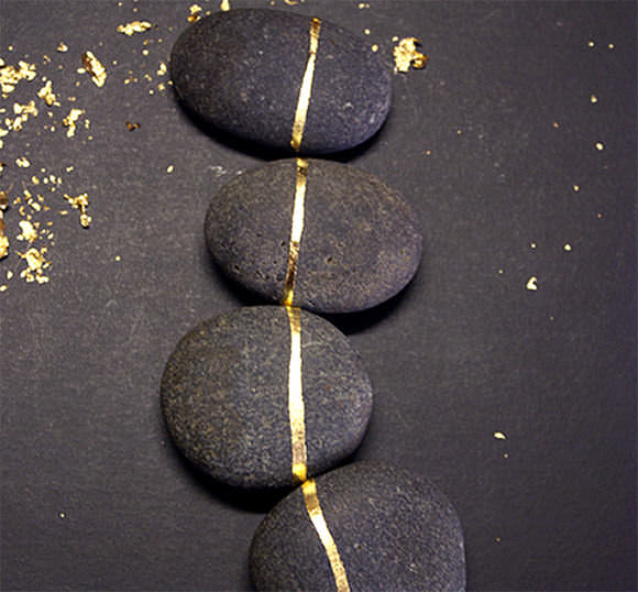 DIY Gold Leaf Rocks via Design*Sponge