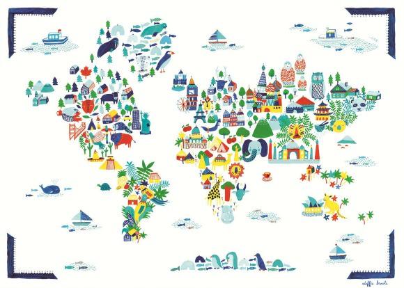 What A Wonderful World Handmade Charlotte - Kids world map poster