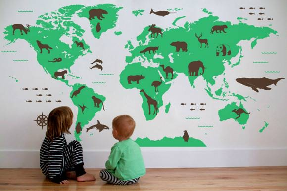 What a wonderful world handmade charlotte world map wall decal with animals by map decal on etsy gumiabroncs Image collections