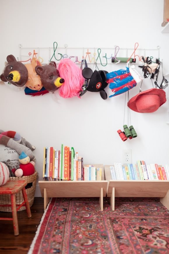 Bookshelf Ideas For Kids Rooms Low Lying Wooden Shelves Via Jordan Ferney