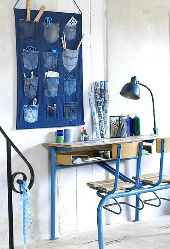 Denim Wall Organizer for Kids