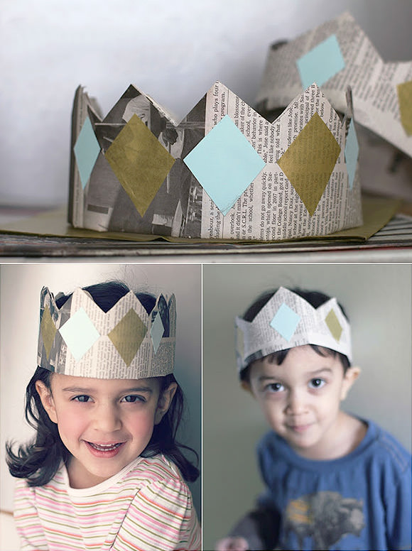 DIY Newspaper Crowns // via salsa pie