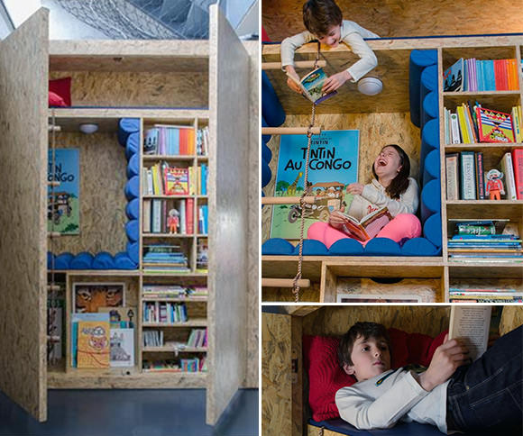 Awesome bookcase for kids with built-in reading nooks