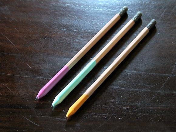 DIY Color Dipped Pencils // via momtastic
