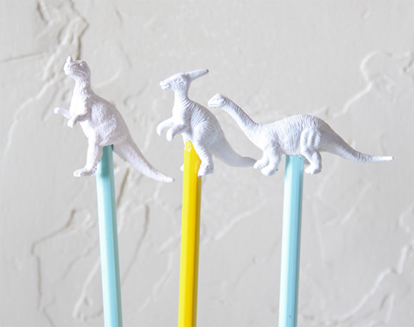 DIY Dino Pencil Toppers // via arbor