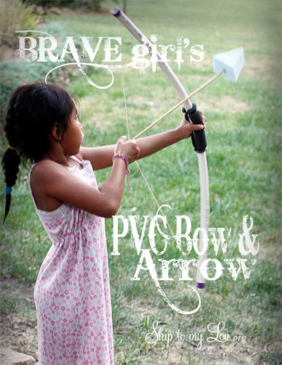 DIY PVC Bow and Arrow for Kids // via skip to my lou
