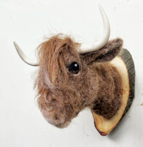 Needle-Felted Highlander Cow Head Mount (from faux fauna on etsy) - fun for a kid's room!