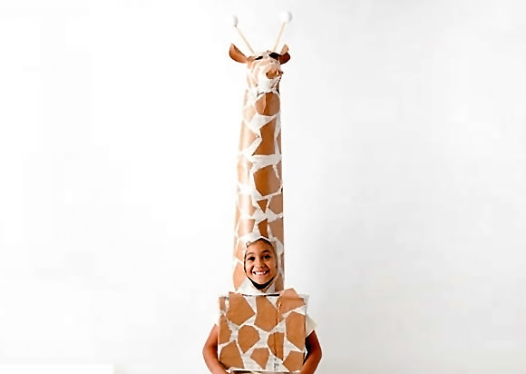 diy giraffe halloween costume tutorial for kids