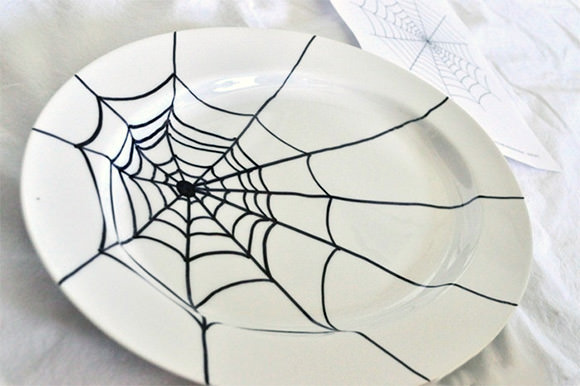 diy sharpie spider web platter