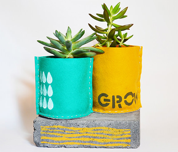Family Craft Challenge Finalist: Hand-Sewn Stenciled Planters (vote for your favorite project!)