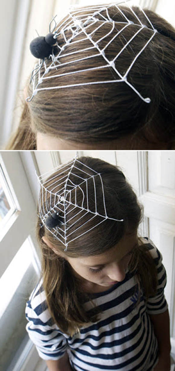 DIY Halloween Spiderweb Headdress