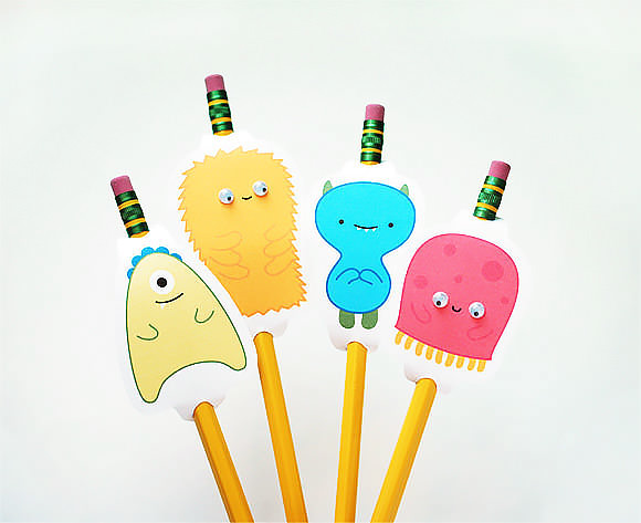 DIY Friendly Monster Pencil Toppers