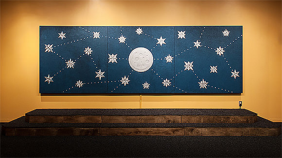 large-scale interactive moon & star mural and musical instrument