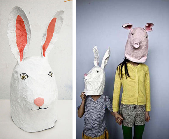 10 diy cardboard paper masks for halloween handmade for Making paper mache animals