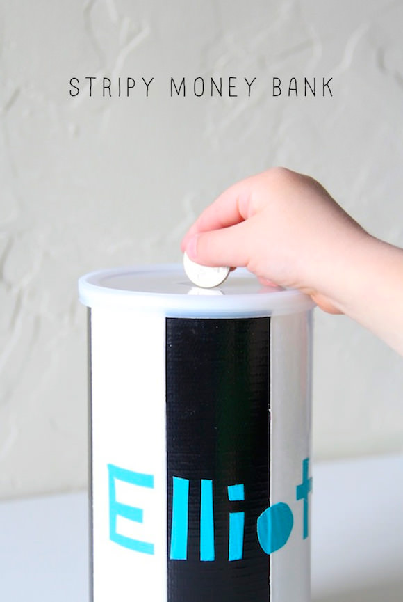 DIY Stripy Money Bank