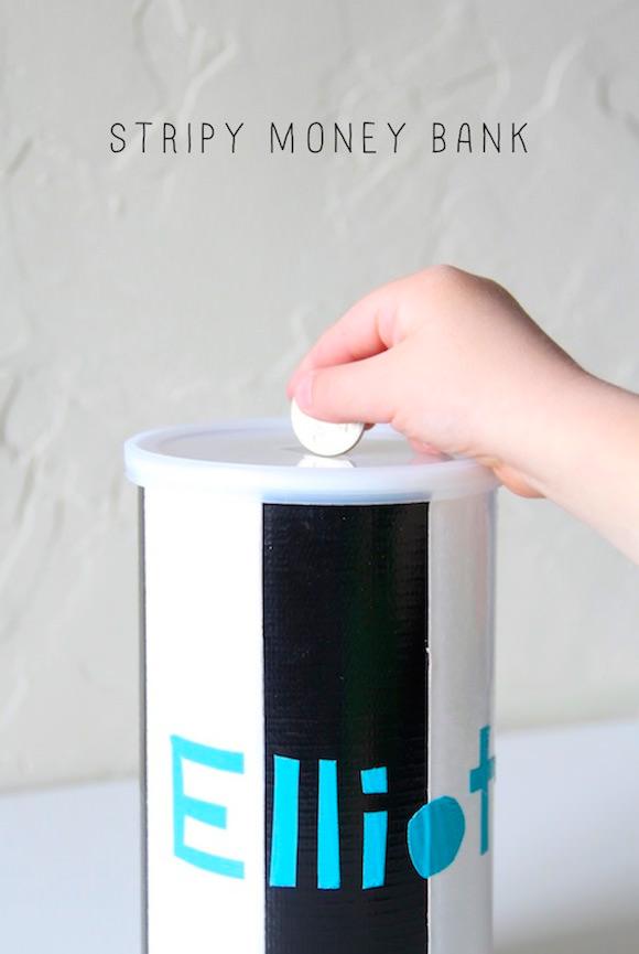 DIY Stripy Money Bank