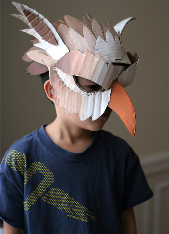 10 diy cardboard paper masks for halloween handmade for How to make a sculpture out of paper mache