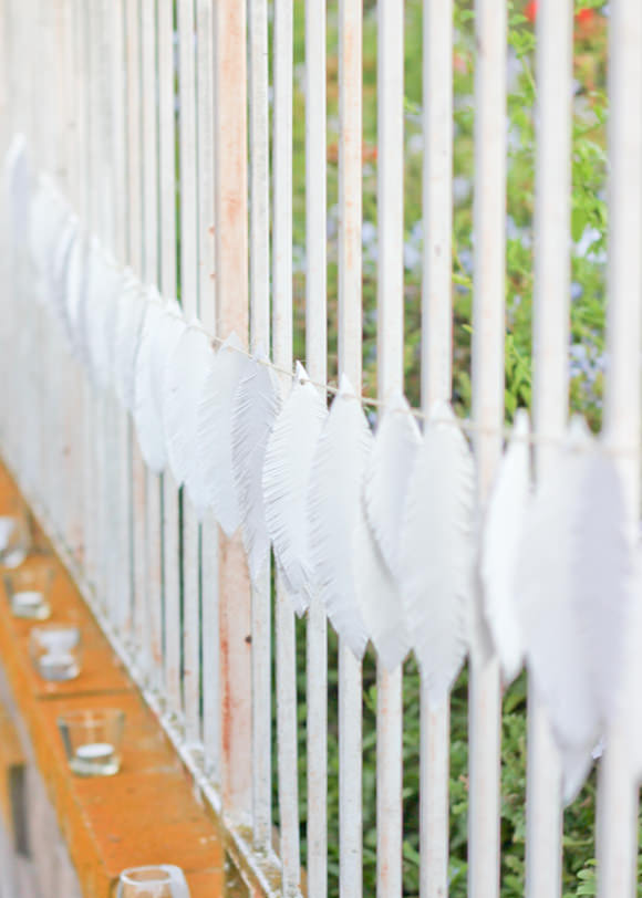 DIY Paper Plate Feather Garland