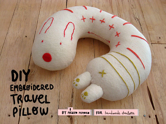 Diy Embroidered Travel Pillow Handmade Charlotte