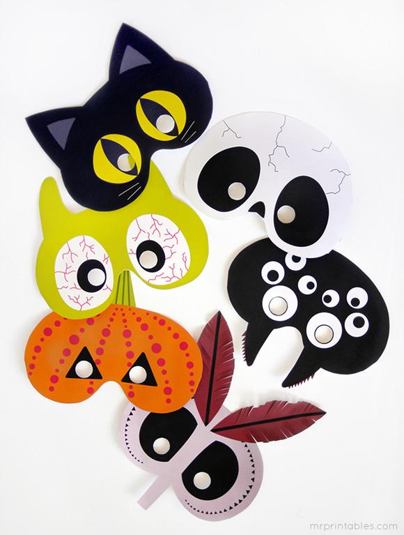 Clever image inside printable halloween masks