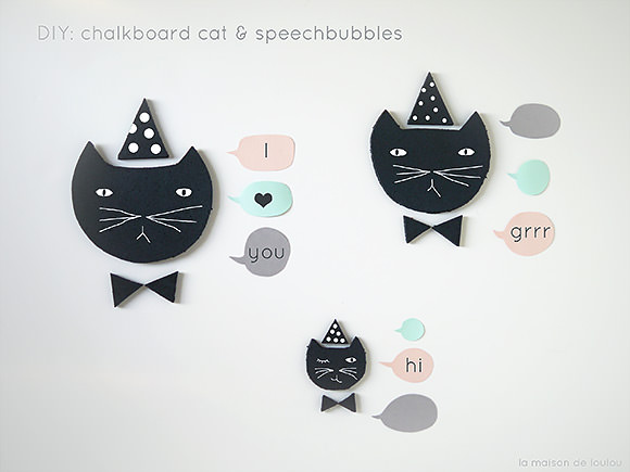 Speechless Cats (DIY Chalkboard Cats & Speech Bubbles)
