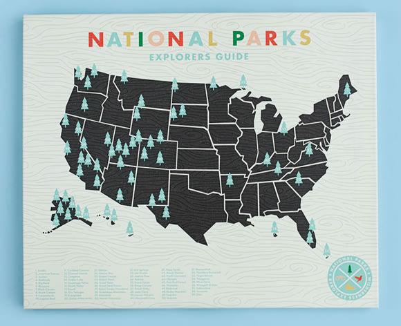 National Parks Checklist Map Print via Etsy