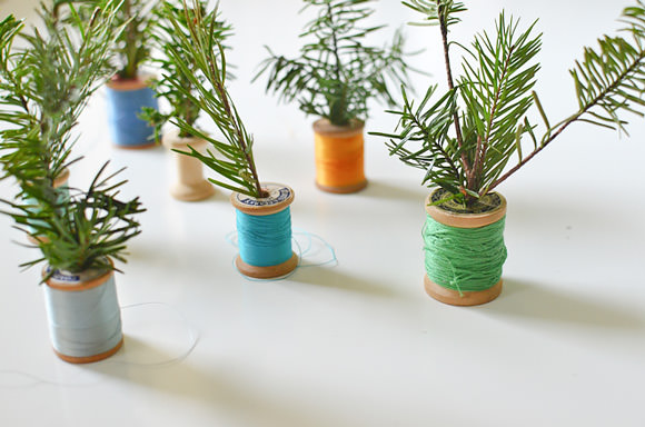 DIY Thread Spool Christmas Trees for Kids