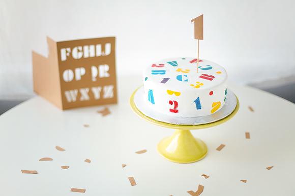 DIY ABC Stencil Cake