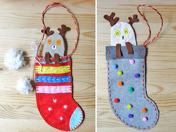 Diy Peekaboo Reindeer Stockings Handmade Charlotte