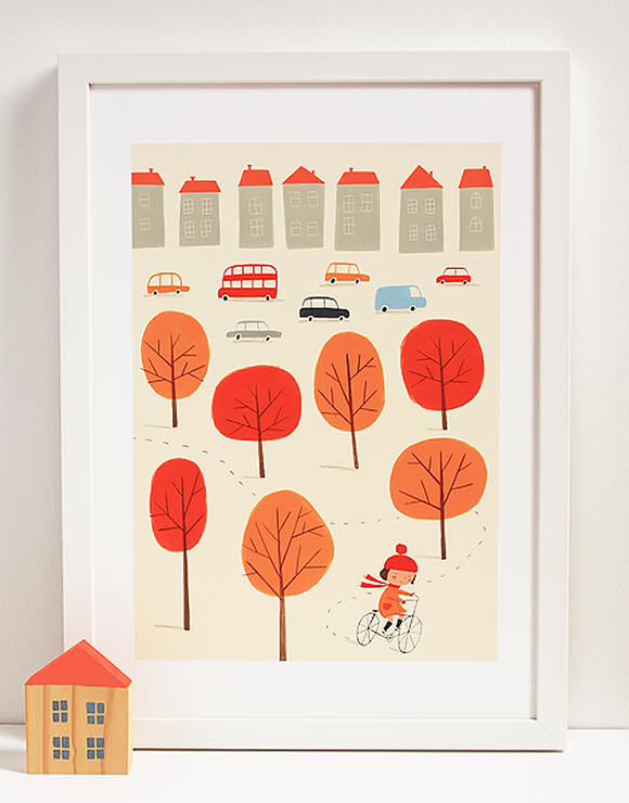 Bicycle Autumn Story Print (perfect for a kid's room)