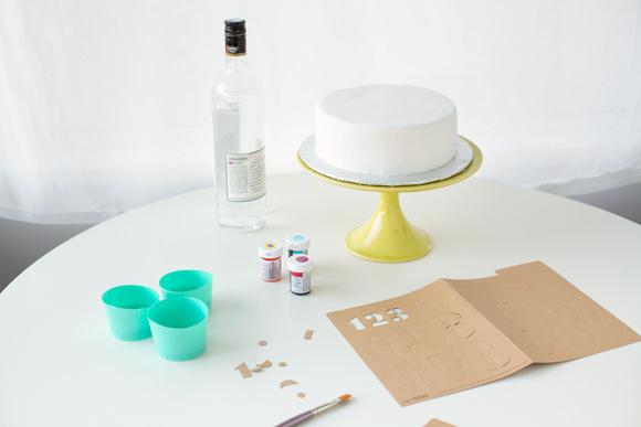 DIY ABC 123 Stencil Cake