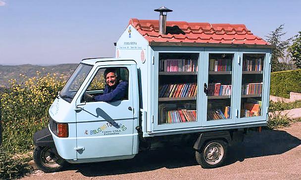 Tiny Mobile Library Travels Italian Countryside Handmade