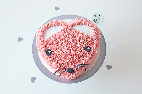 Pink Heart Mouse Valentine's Day Cake