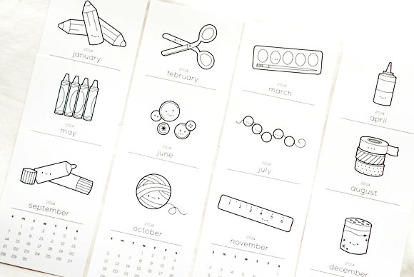 Fun Printable Coloring Book Calendar For 2014 (all you need is a little washi tape!)