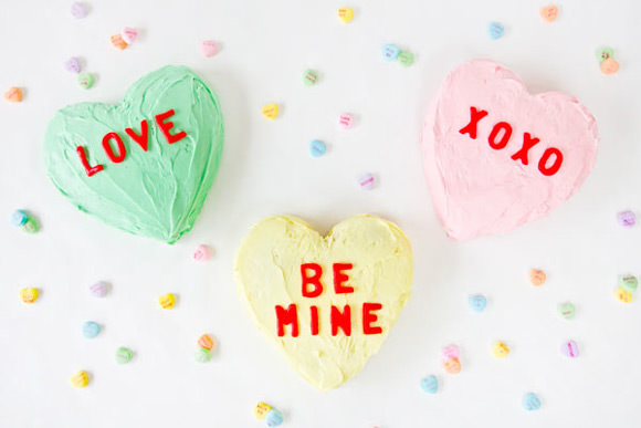 DIY Conversation Heart Cakes