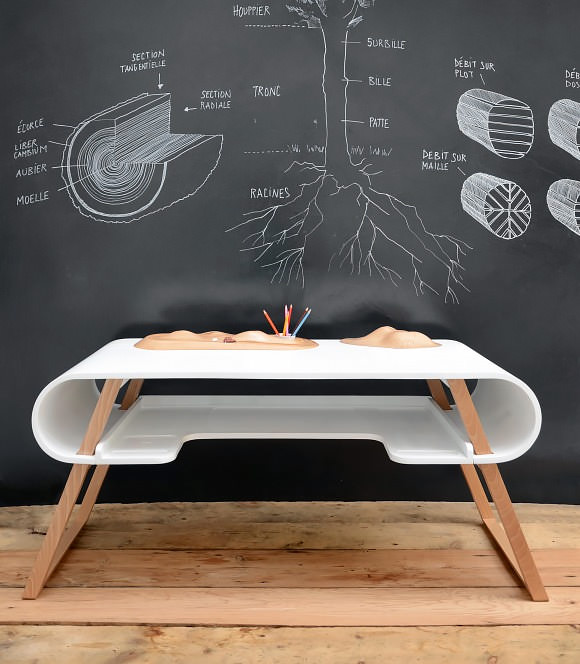Modern Kid's Desk with Carved Wood Toy Car Track & Mountain