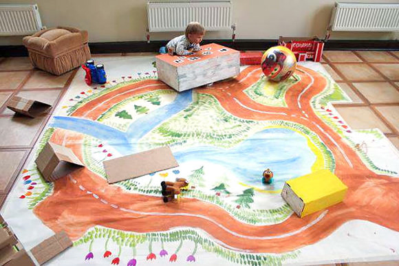 DIY Hand-Painted Road Map Play Set