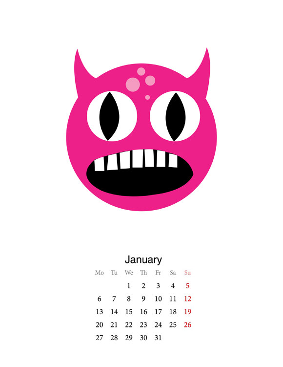 DIY Printable Monster Calendar