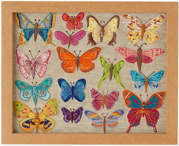 Art for Kids' Rooms:  Natural History Framed Embroidered Butterflies (via The Land of Nod)
