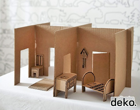 6 ways to make a cardboard dollhouse handmade charlotte for How to make a house from cardboard box