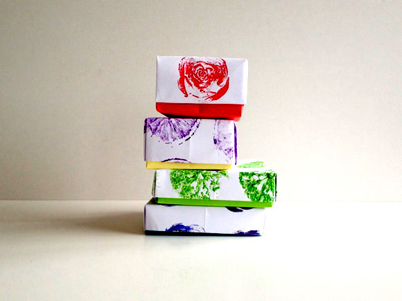 DIY Fruit & Veggie Stamped Origami Boxes