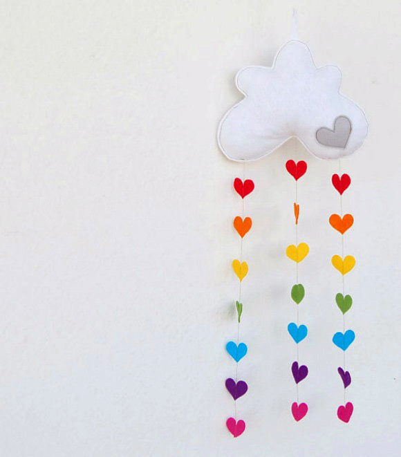 Raining Rainbow Hearts Mobile By The Rainbow Room