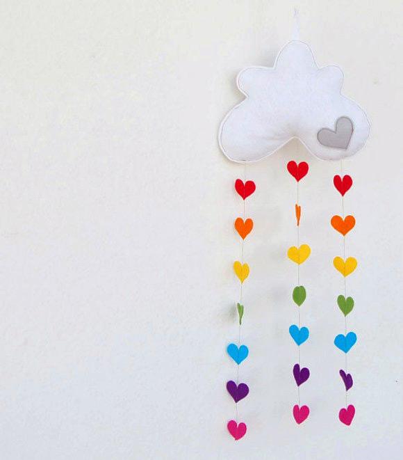 Raining Rainbow Hearts Mobile By The Rainbow Room