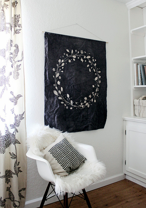 diy batik dyed wall tapestry - Fabric Wall Designs