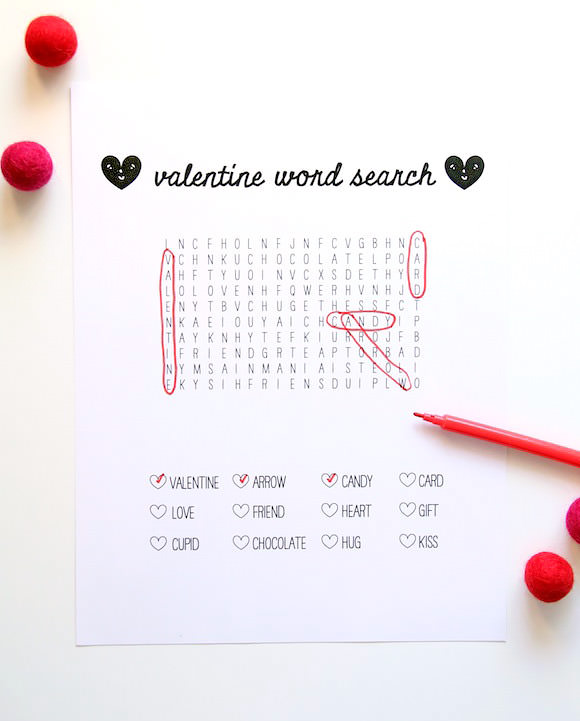 Printable Word Search for Valentine's Day
