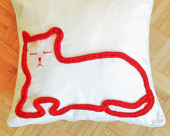 DIY Knitted Cat Pillow Project for Kids