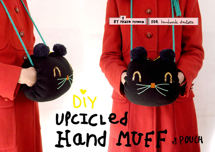 DIY Upcycled Kitty Hand Muff & Pouch